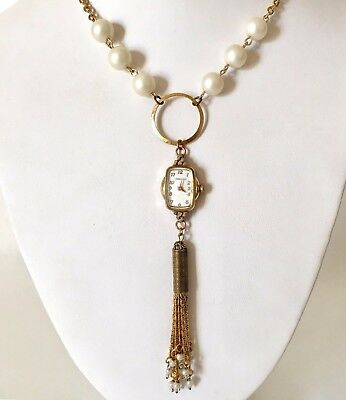Victorian Wedding Necklace Watch Pendant Vintage Gold Tone Steampunk Handmade 8