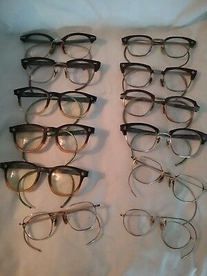 Antique Lot of 12 Eyeglasses American Optical 3 Gold Filled Pair