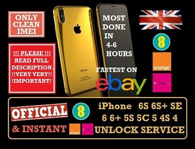 FAST FACTORY UNLOCK SERVICE UK EE ORANGE TMOBILE iPhone 6 6+ 6S 6S+ SE 5S 5 5C