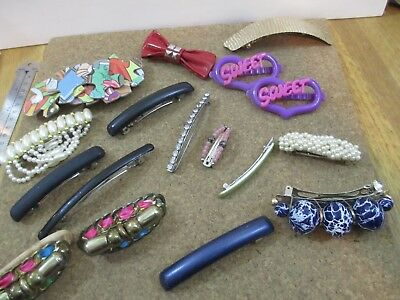 Vintage Hair Clip Barrette Lot Collection 1980's 90's Mixed Sweet Hearts Beaded