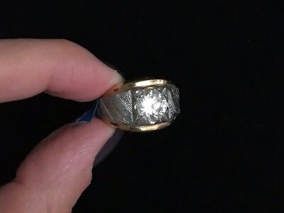Vintage Two Tone 14k HGE Men's Ring Clear Stone SIGNED LIND Size: 9 M400