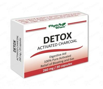 Detox Activated Charcoal 260mg Digestive aid Relief of Bloating and Gas