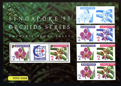 1995 Singapore Limited Exhibition MNH Rare Proof-Sheet Bl 36 #3282/5000 Orchids