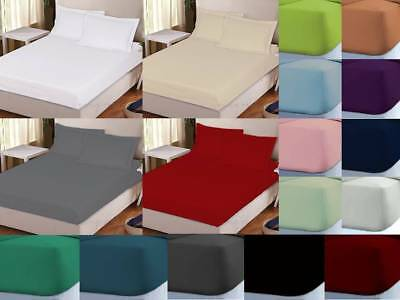 """Extra Deep Fitted Size 16""""/40 Cm Percale Single, Double, King, Super King Sheets"""
