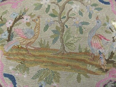 Antique Victorian Berlin woolwork panel/seat cover: birds, tree and foliage