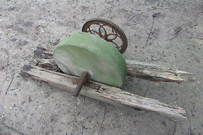 Antique attractive pedal or handle whetstone on wooden frame for rebuild