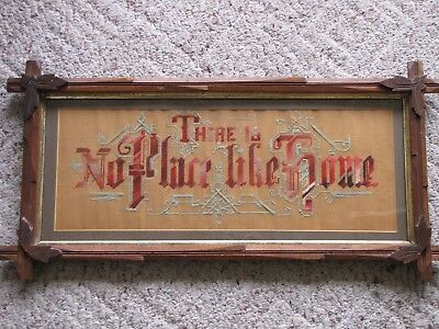 Antique Victorian Punch Paper Embroidery Home Motto Sampler Tramp Art Frame