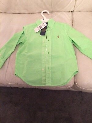 Ralph Lauren Boys Shirt Age 3 Bnwt Rrp £35.00 Lovely Shade Of Green Authentic