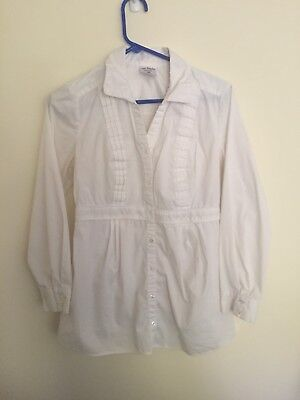 Two Hearts Maternity Small White Button Down Professional Dress Shirt GUC