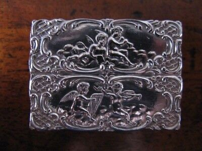 Small Solid Silver Chased Trinket / Pill Box Sheffield 1973