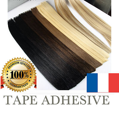 7A Extensions De Cheveux Tape Bandes Adhesive Pose A Froid Naturel La Poste