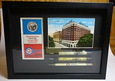 Michigan Consumers Powers vintage mechanical pencils & postcard in shadow box