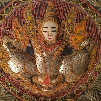 """VINTAGE BURMESE KALAGA TAPESTRY, FIGURE SEQUINS GLASS BEADS 12"""" x 12"""" HAND DONE"""
