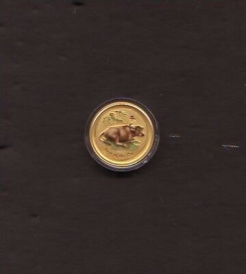 Australia 2009 Chinese Lunar Ox 1/20 oz $5 Gold  Colorized .9999  pure
