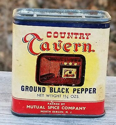 Nice COUNTRY TAVERN Black Pepper Spice Tin Can New Bergen New Jersey NJ