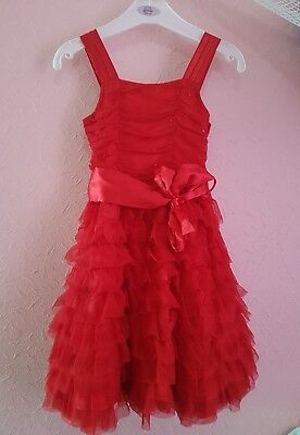 GIRLS NEXT SIGNATURE RED EMBELLISHED CHIFFON TULLE PARTY DRESS Age 4 Christmas