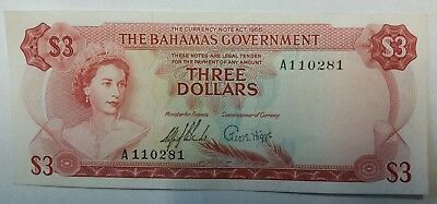 Bahamas 3 dollars 1965 banknote world paper money XF or better
