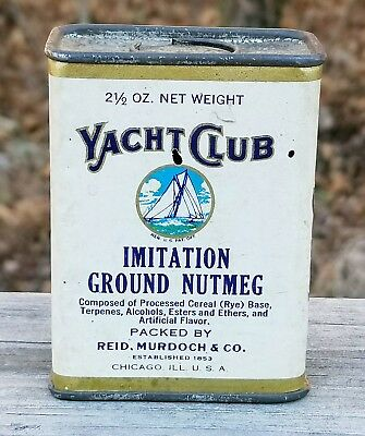 Nice YACHT CLUB Ground Nutmeg Spice Tin Can Reid Murdoch & Co. Chicago, Illinois