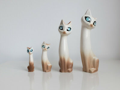 Vintage Retro 50's Hornsea Siamese Cats by Marion Campbell Set of 4