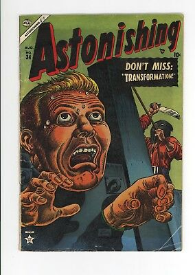 Astonishing #34 - Vg Grade - Loaded With Horror Stories! 1954 Atlas Comics