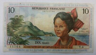 French Antilles 10 new francs 1963banknote world paper money B-5