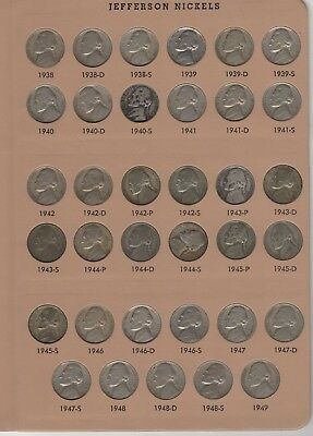 Nearly Complete Jefferson Nickel Set No  Dansco  158 coins  1950d