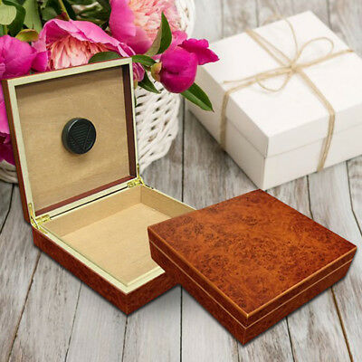 Luxurious Personalized 20 Count Burl Cigar Humidor with Humidifier