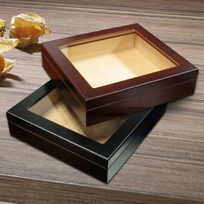 Personalized 20 Count Cherry Glass Top Cigar Humidor With Humidifier