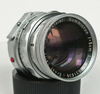 LEICA LEITZ-WETZLAR SUMMICRON-M 50mm f/2 DUAL RANGE M-MOUNT LENS CHROME GERMANY