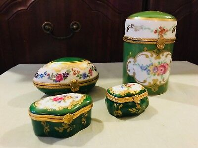 """Limoges """"DUBARRY"""" 3 x Trinket Boxes and 1 Canister Pot.Green,White,Gold,Flowered"""