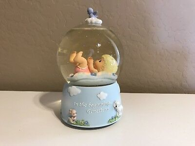 2007 Precious Moments Musical Water Globe - In the beginning... Genesis 1:1