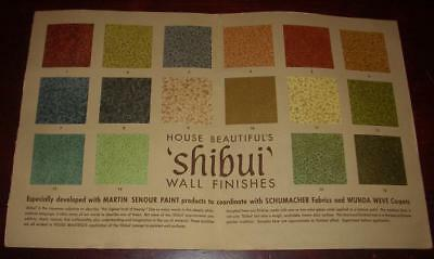 1960 Martin-Senour Paint SHIBUI Wall Finishes Samples Chips House Beautiful Mag