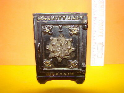 Antique Security Safe Deposit Safe Cast Iron Still Bank - 1887 - Cool!