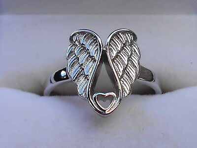 Genuine Sterling Silver Angel Wings with Heart Ring