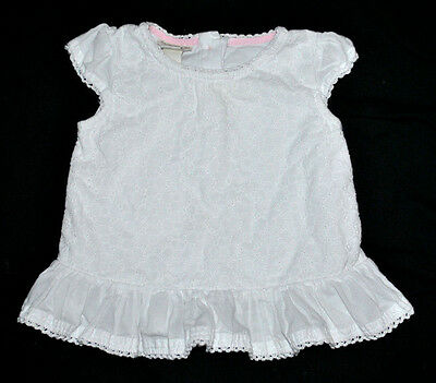 Monsoon Baby Girl Short Sleeve Top Blouse Age 6-12 Months White