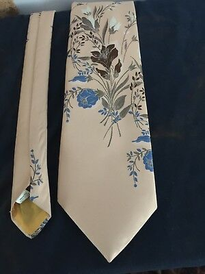 "Vintage Tie 56""x4"" Light Beige. Birds & Flowers"