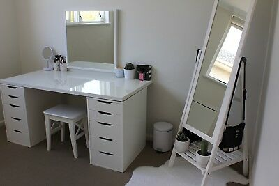 IKEA White Shine Table Top AND 2x Alex Drawers Makeup Vanity | In Good Condition