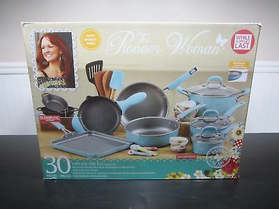 Pioneer Woman 30 Piece Cookware Set Vtg Speckle Turquoise Holiday In Stock Hand