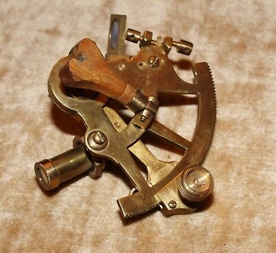 "Functional Solid Brass Sextant 4"" X 4"" w/ Glass Filters and Scope"
