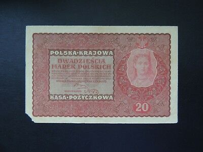 Poland (0990), 1919, 20 Marek, P26, Corner piece missing