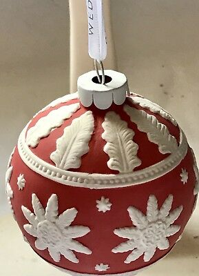 NIB Wedgwood Collectible Red/White Christmas Ornament