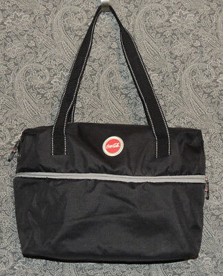 Coca-Cola Tote Expandable Center Travel Bag Black & Red Canvas 2 Shoulder Straps
