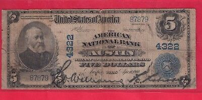 ***  1902  $5.00 National  Austin Texas  *****
