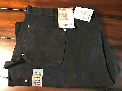 Carhartt Firm Duck Double Front Work Dungaree 48 X 32 Loose Original Fit Black