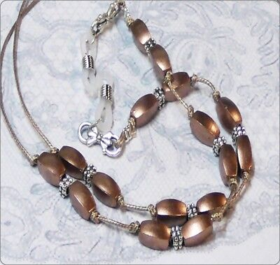 Reading eye glasses, spectacle chain holder lanyard  Light Brown pearl on cord