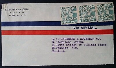 1939 Curacao Airmail Cover ties 3 Airmail stamps canc Aruba to Milwaukee USA