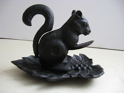 Vintage Cast Iron Squirrel Nut Cracker On Leaf Nice