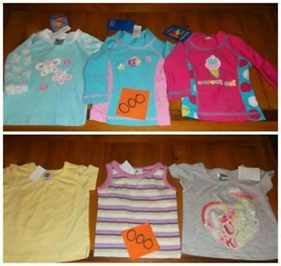 ~ 6x GIRLS TOPS/SWIM SHIRTS ~ SIZE 000 ~ ALL NEW WITH TAGS ~