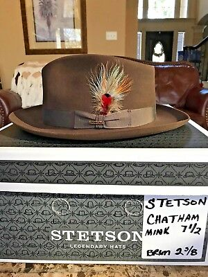"Stetson ""chatham"" Soverieign Mink Size 7 1/2 Great Dress Fedora!"
