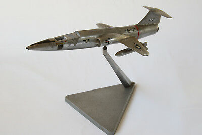 Fantastic Vintage FOMAER Polished Aluminum F-104 Starfighter on original stand